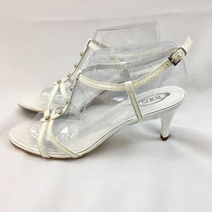 Tod's Size 10 white leather studded stiletto heels